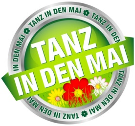 "Button Banner ""Tanz in den Mai"" Blumen grn/rot/silber"